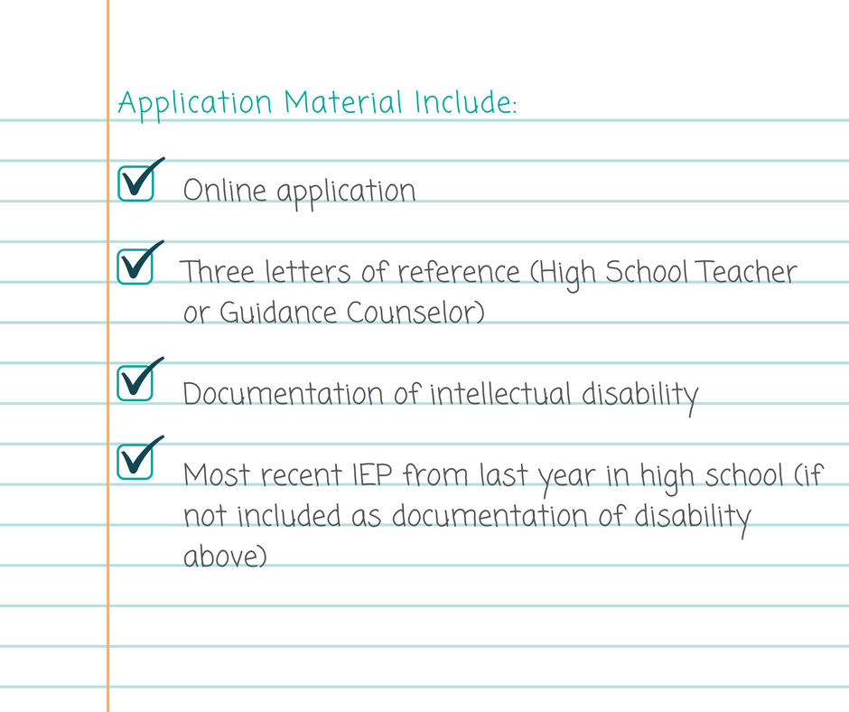 List of applicaiton materials, online application, 3 references,, most recent IEP